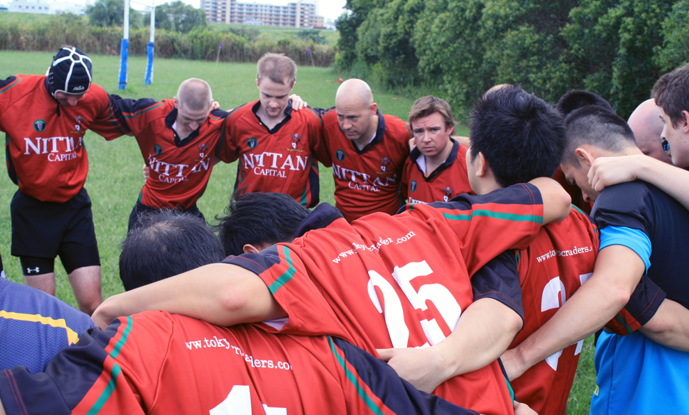 Tokyo Crusaders gather before the first game of the 2012/13 rugby season