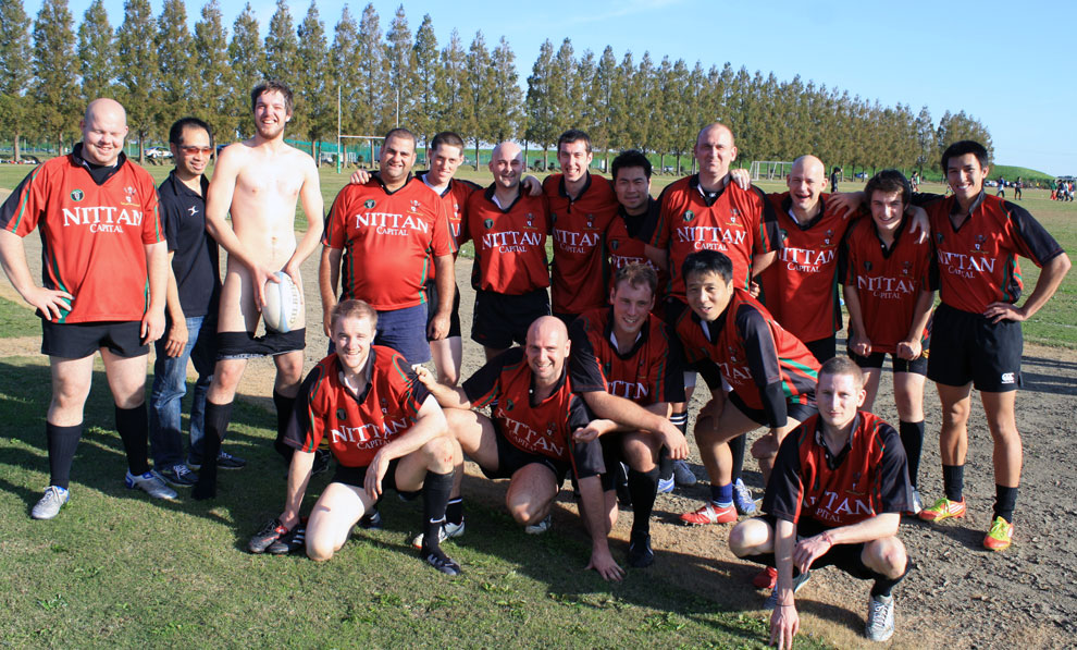 Tokyo Crusaders pose after the 75-0 win over Gentle Giants